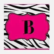 Personalizable Hot Pink Black Zebra Tile Coaster