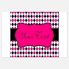 Personalizable Black Pink White Diamonds Invitatio