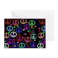Rainbow Peace and Hearts Greeting Card