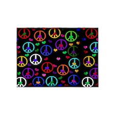 Rainbow Peace and Hearts 5'x7'Area Rug