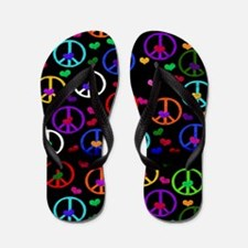 Rainbow Peace and Hearts Flip Flops