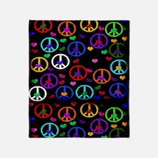 Rainbow Peace and Hearts Throw Blanket