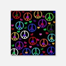 """Rainbow Peace and Hearts Square Sticker 3"""" x 3"""""""