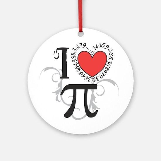 I heart Pi Round Ornament