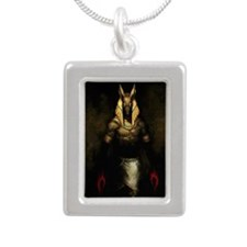 Cute Anubis Silver Portrait Necklace