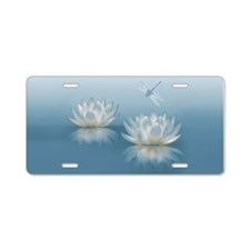 Blue Lotus And Dragonfly Aluminum License Plate
