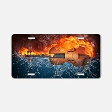 Fire And Water Violin Aluminum License Plate