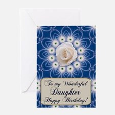 A birthday card for your daughter with a white ros