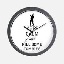 Keep Calm and Kill Some Zombies Wall Clock