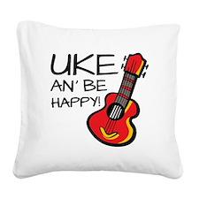 UkeHappyOutline Square Canvas Pillow
