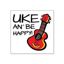 "UkeHappyOutline Square Sticker 3"" x 3"""