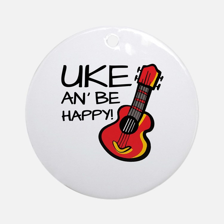 UkeHappyOutline Round Ornament