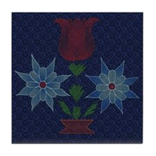 Harvest Moons Cross Stitch Tulips Tile Coaster