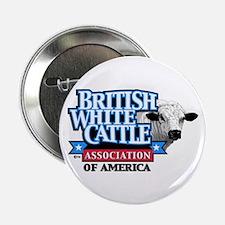 British White Cattle Pin On Button