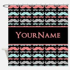 Cute Mustache Monogram Shower Curtain