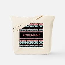 Cute Mustache Monogram Tote Bag