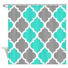 Gray and turquoise quatrefoil pattern. Shower Curt