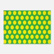# Green And Yellow Polka Dots 5'x7'Area Rug