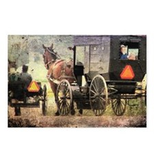 Two Amish Buggies Postcards (Package of 8)