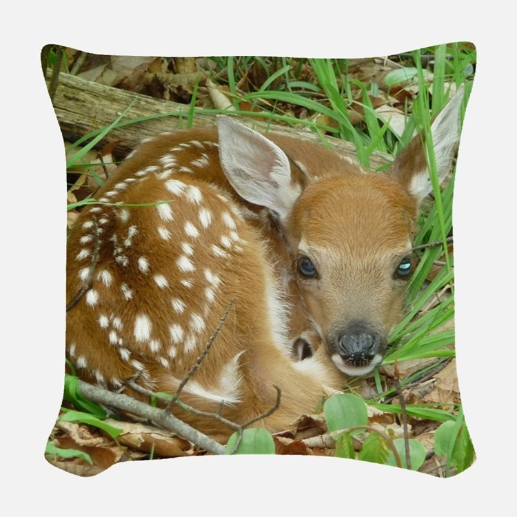 spotted fawn Woven Throw Pillow