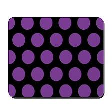 # Black And Purple Polka Dots Mousepad