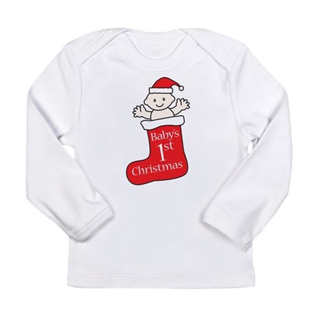 Babys First Christmas Stocking Long Sleeve T-Shirt