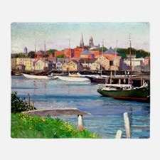 Gloucester Harbor - Painting by Will Throw Blanket