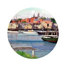 Gloucester Harbor - Painting by Wil Round Ornament