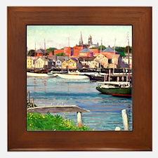 Gloucester Harbor - Painting by Willia Framed Tile