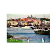 Gloucester Harbor - Painting by W Rectangle Magnet