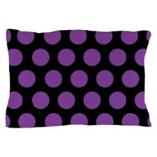 # Black And Purple Polka Dots Pillow Case