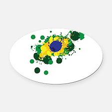 Brazil Flag- Oval Car Magnet