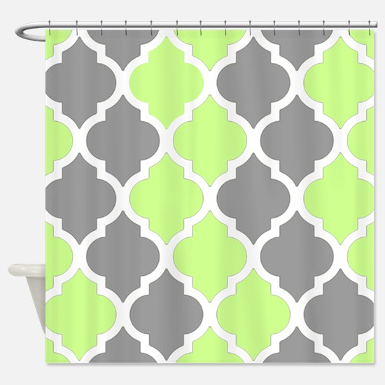 green and gray shower curtain. Gray and lime quatrefoil pattern Shower Curtain Lime Green And Curtains  CafePress