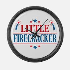 4th of July, Little Firecracker Large Wall Clock