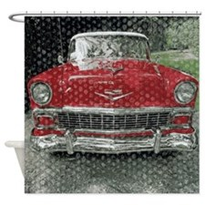 Classic Red Fifties Car Shower Curtain