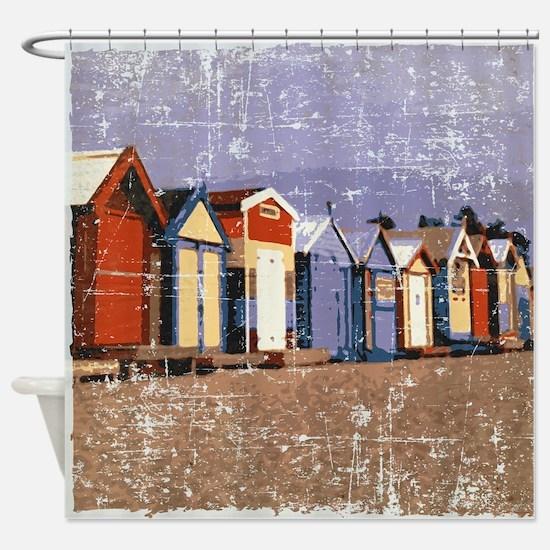 Distressed Beach Huts Cabanas Shower Curtain