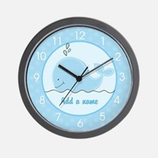 Little Blue Whale Wall Clock - Add A Name