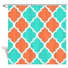 Coral orange and turquoise quatrefoil pattern Show