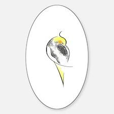 Pied Cockatiel Oval Decal