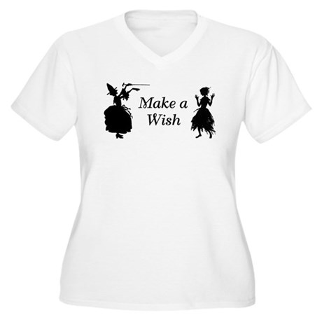 Make a Wish Women's Plus Size V-Neck T-Shirt