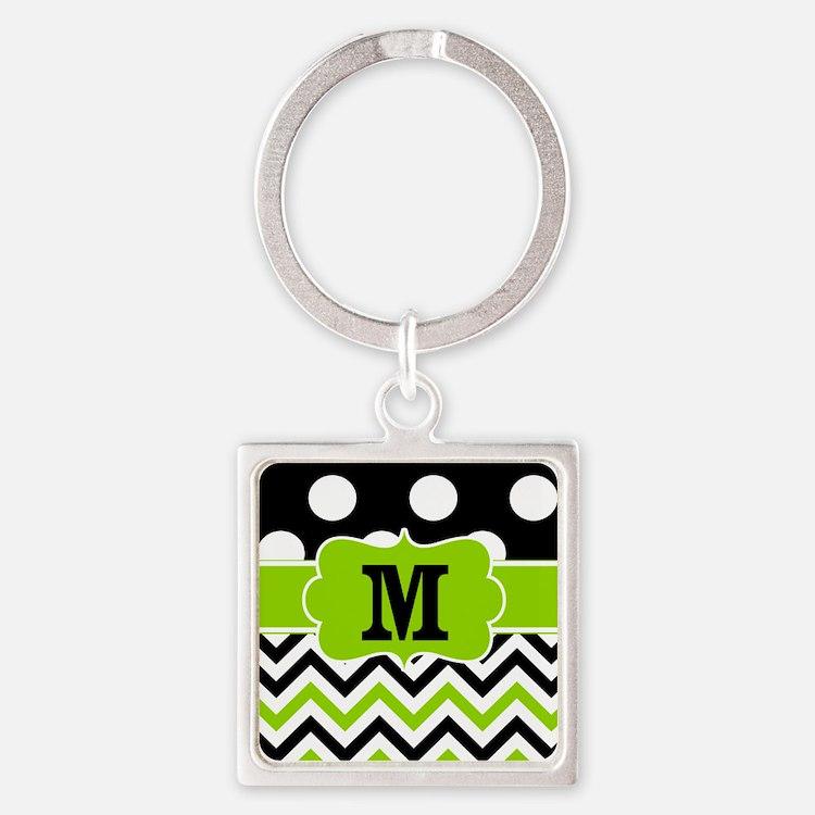 Black Lime Green Chevron Monogram Keychains