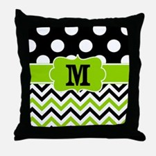 Black Lime Green Chevron Monogram Throw Pillow
