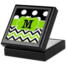 Black Lime Green Chevron Monogram Keepsake Box