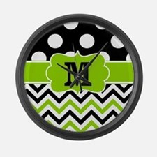 Black Lime Green Chevron Monogram Large Wall Clock