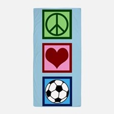 Peace Love Soccer Beach Towel