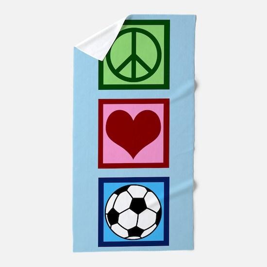 Peace Love Soccer Beach Towel