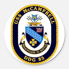 USS McCampbell DDG- 85 Round Car Magnet
