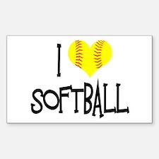 I Love Softball Decal