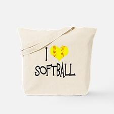 I Love Softball Tote Bag