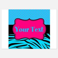 Personalizable Teal Hot pink Invitations